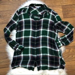 Old Navy the classic shirt plaid top green pink XL